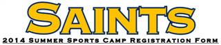 2014 Summer Sports Camp Registration Form