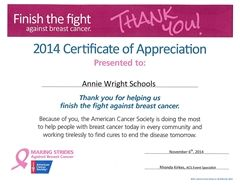 The American Cancer Society honors Annie Wright for its leadership role in the Making Strides Against Breast Cancer walk.