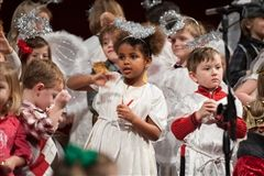 Preschoolers perform at the annual Preschool Christmas Pageant on Thursday night.