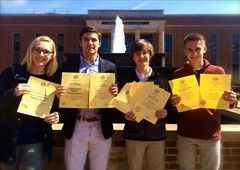 Media Arts and yearbook students with their THSPA awards.